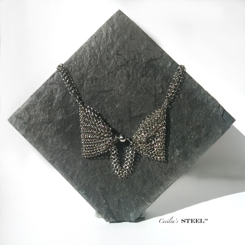 Cecilias Steel-Steel Pearl Bow Tie Necklace