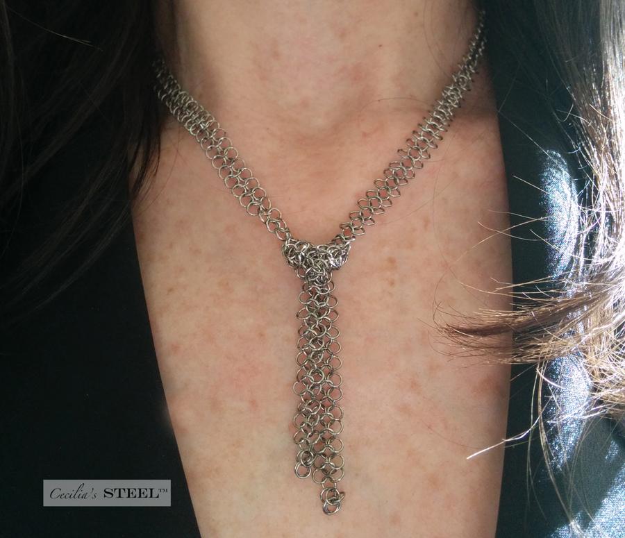 Cecilia's Steel Lariat Necklace