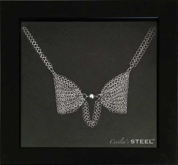 Cecilia's Steel Steel Pearl Bow Tie Necklace