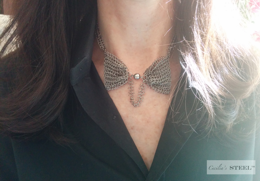 Cecilia's Steel Steel Pearl Bow Tie